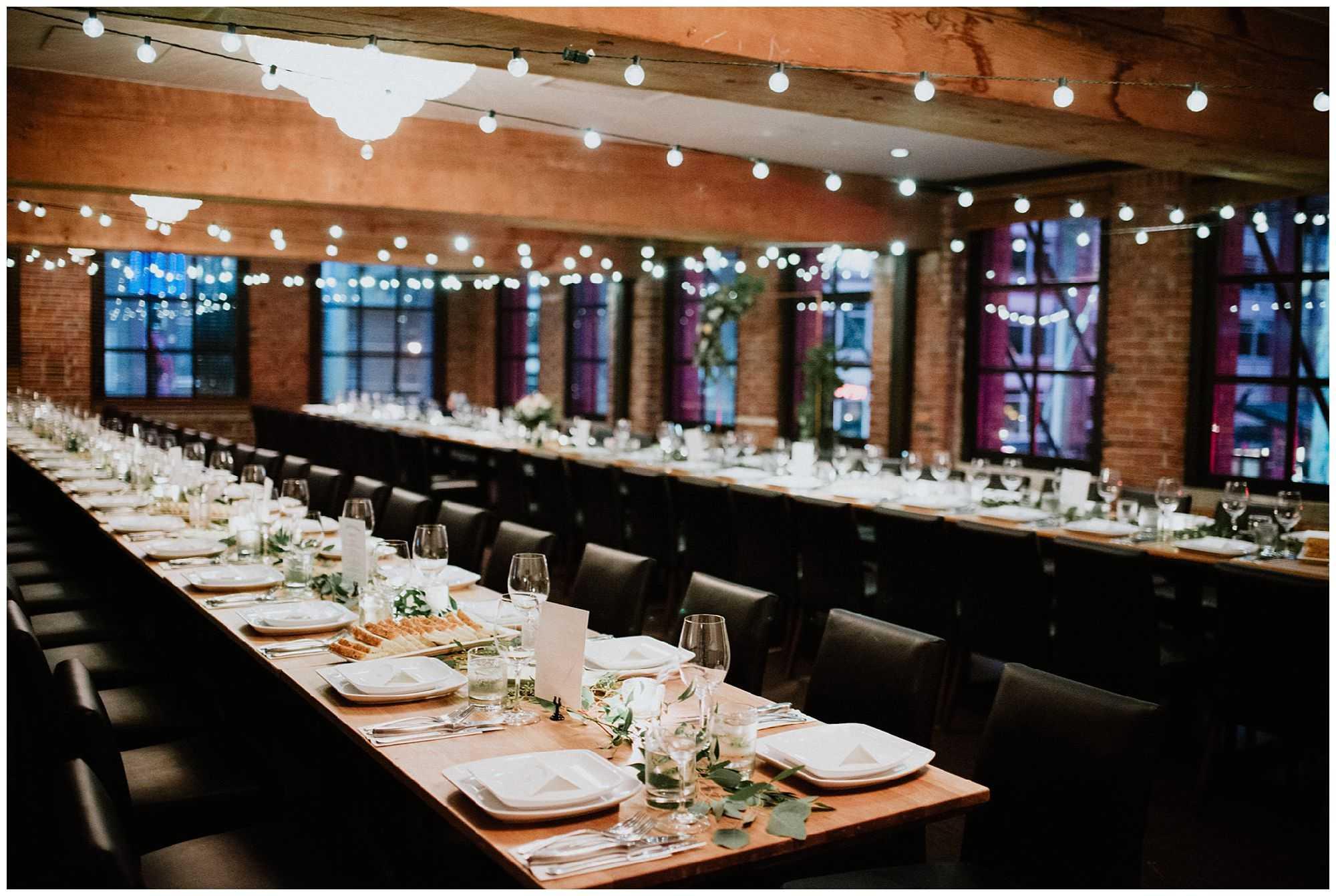 Wedding longtable decor the loft yaletown vancouver