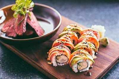 Medium steak and sushi